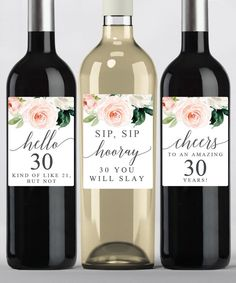 Printable wine labels for a birthday or girls night. Edit with your own fun message. 30th Birthday Party Themes, 30th Birthday Ideas For Women, 40th Birthday Decorations, Happy 30th Birthday, Birthday Woman, Funny Birthday, Wine Birthday, Happy 40th, 50th Party