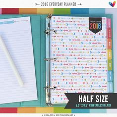 PRINTABLE 2016 Everyday Planner in {5.5 x 8.5} HALF size! Now with 12 new cover pages, new dividers + 2016 & 2017 year in reviews! View everything