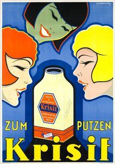 ¡Del verdadero colorido Henkel!   por Hans Johannes Handschin (leader of the Basel Graphic school), 1 9 2 9, Art deco poster for Krisif a cleaner powder by the Henkel company.