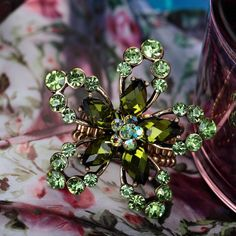 Rhinestone Flower Ring Green