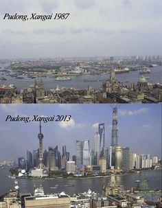 Distrito de Pudong em Xangai - 26 anos de crescimento