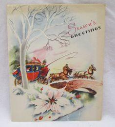 Vintage Christmas Greeting Card 1948 Horses Stage Coach An Artistic Card USA Christmas Horses, Christmas Past, Christmas Greeting Cards, Christmas Greetings, Stage Coach, Vintage Holiday, Happy Thoughts, Vintage Cards, Card Making
