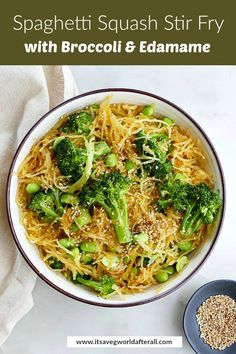 Spaghetti squash noodles make up the base of this delicious spaghetti squash stir fry with edamame, broccoli, and a simple soy sesame sauce. It's loaded with veggies, vegan, and can easily be made gluten free! Make this dish for meal prep or a quick weeknight dinner.