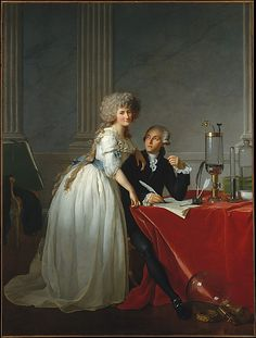 "LATE GEORGIAN MAN ""Antoine-Laurent Lavoisier and His Wife, Marie-Anne-Pierrette Paulze"" Jacques Louis David 1788 The Metropolitan Museum of Art http://www.metmuseum.org/Collections/search-the-collections/436106?rpp=20&pg=2&ft=1750-1790+art&pos=24 1977.10 oil on canvas"
