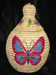 Beautiful Butterfly Grass Basket-Alaska Fur Exchange