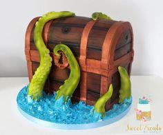 Pirate Treasure Chest - cake by SweetTreatsbySophie Treasure Chest Cake, Pirate Treasure Chest, Pirate Birthday Cake, Pirate Cakes, Fondant Cakes, Cupcake Cakes, Cupcakes, Ocean Cakes, Ballerina Cakes