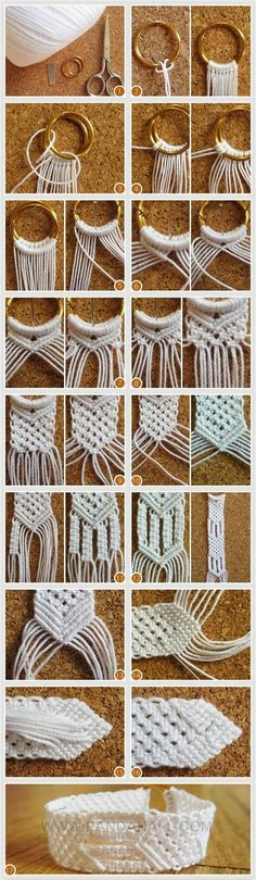 macrame bracelet or belt. Use two rings to attach the strings on, to get the closing mechanism. You can also use one ring, if you make the braid long enough to be tied around itself, or use a buckle.