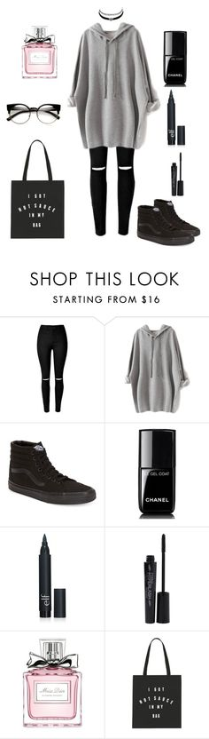 """#grayndblk"" by thehotline ❤ liked on Polyvore featuring Vans, Chanel, Smashbox, Christian Dior and Charlotte Russe"