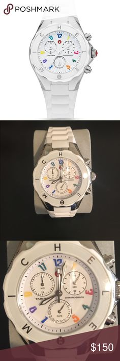 "Michele Watch White Michele watch with a ""rubber"" wrist band. In great condition. OBO Michele Accessories Watches"