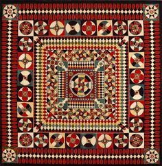 Soldier's Quilt: 1854–1890  Wool melton  67 x 66 1/2 in.  American Folk Art Museum, gift of Altria Group, Inc., 2008.9.1    This textile belongs to a group of bedcovers that are also known as military quilts or, sometimes, Crimean quilts. Most of the known examples were found in Great Britain, where they were traditionally made from wool fabric used in the production of military uniforms.