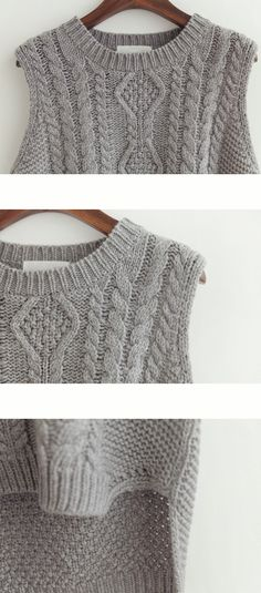 Knit cardigan - there is a neat feeling retro cable knit spacious plain slim vest sweater ★