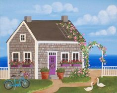 Nantucket Cottage, Kim's Cottage Art - Etsy Love Nantucket. Nice piece of art for summer dreaming in dead of winter with coming down.