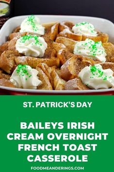 This delicious Overnight Baked French Toast Casserole is made even yummier with Baileys Irish Cream! It's the ideal St. Patrick's day breakfast or brunch and great for a breakfast potluck! (Use non-alcoholic irish cream extract if desired) Potluck Dishes, Potluck Recipes, Casserole Recipes, Cooking Recipes, Dinner Recipes, Milk Recipes, Chicken Casserole, Cooking Tips, Vegetarian Recipes