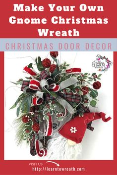 Create this adorable Gnome Christmas Wreath for your holiday home decor.  In my Wreath of the Month Club, members learn time-saving techniques to make professional looking wreaths to decorate their own homes or to sell for profit.  This is just one of MANY floral designs that is taught!