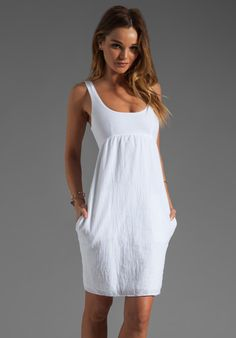 81db0fa564 Shop for James Perse Sheer Gauze Empire Dress in White at REVOLVE.