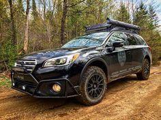 "2016 Subaru Outback 3.6R @lp_aventure bumperguard / skidplate / 2"" lift kit / @bfgoodrichtires T/A KO2 / @motegiracing MR118 / @arb4x4 / #rtxline led bar / @yakimaracks loadwarrior + extension and accessories #lpaventure #lachuteperformance #offroaddivis…"