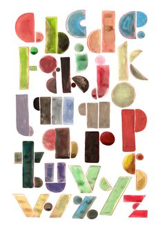 Letterpress paint style print - The alphabet by typogy (etsy), print of gouache painting using Epson pigment inks http://www.etsy.com/shop/typogy