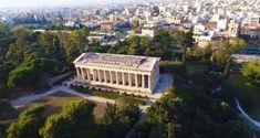 Εντυπωσιακή ξενάγηση στην πανέμορφη Αρχαία αγορά της Αθήνας με drone Ancient Greek Theatre, Aerial View, Garden Bridge, Athens, Greece, Outdoor Structures, Architecture, Temples, City