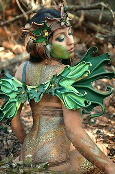 Sculpted Leather  Faerie Wings  Green Maple Fairywings door beadmask, $265.00