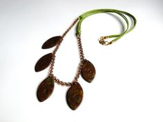 FREE SHIPPING Brown-Green Necklace