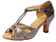 Salabobo AQQ6182 Womens Latin Tango Ballroom Professional 24 Inch Heel Satin Dance Shoes Grey US Size35 -- Continue to the product at the image link.