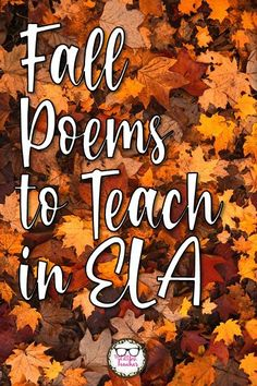 Here are 12 poems found online that are perfect to study during autumn in ELA! #poetry #ELA #teachingpoetry #fall #TheLittlestTeacher English Teaching Resources, Teaching Poetry, National Poetry Month, Secondary Teacher, Middle School Ela, School Levels, High School English, English Language, Language Arts