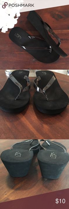 Black Loft Wedge Flip flop sandals✨ Gently used. Fuzzys in the pic are from wear I disinfected them with a Clorox wipe. They really are in excellent condition! Loft Shoes Sandals