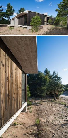 the architects used common pine wood treated with burnt oil, to break up the use of concrete on this modern house. #ModernHouse #WoodExterior #ConcreteHouse