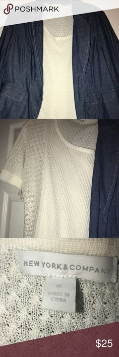 New York & Co sweater EUC; worn once; loose fit white knit sweater; short sleeves; multi pattern which makes this sweater so fun; great to wear w/ Jeans, Leggings, skirt; so many options New York & Company Sweaters Crew & Scoop Necks