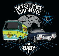 Mystery machine and Baby Scooby Doo crossover Supernatural Imagines, Supernatural Series, Supernatural Gifts, Supernatural Wallpaper, Supernatural Bloopers, Supernatural Tattoo, Supernatural Birthday, Supernatural Poster, Supernatural Bunker