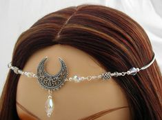 Wiccan or pagan head piece with pretty #moon center hand made to order by Dawn Hill Designs. Includes: Custom color choice for this circlet, style #3170 for renaissance faires, #brides, costume parties, LARP events and rituals.