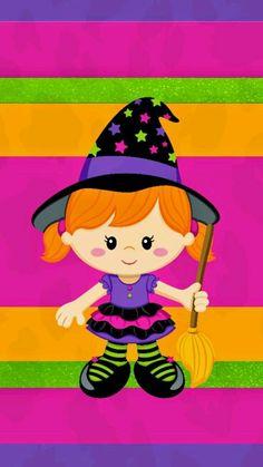 Halloween pink, orange, green, & purple stripes w/colorful sweet witch. Halloween Labels, Halloween Clipart, Halloween Trick Or Treat, Halloween Pictures, Halloween Ghosts, Holidays Halloween, Baby Halloween, Halloween Crafts, Halloween