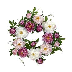 "Nearly Natural 22"" Peony Wreath Pink"
