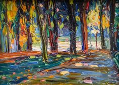 Vasily Kandinsky, Park of St Cloud, Autumn, 1906, via @ScienzaeScuola Städtische Galerie im Lenbachhaus, Munich