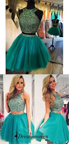 6d418131b6 High Quality Short Mini Homecoming Prom Dress - Turquoise Crew Tulle with  Beaded