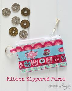 Ribbon Zippered Purse Tutorial - A Spoonful of Sugar