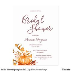 Shop Bridal Shower pumpkin fall golden white invitation Postcard created by EllenMariesParty. Simple Bridal Shower, Bridal Shower Party, Bridal Shower Invitations, Party Invitations, Bridal Showers, Artist Card, Fall Pumpkins, Zazzle Invitations, Paper Design