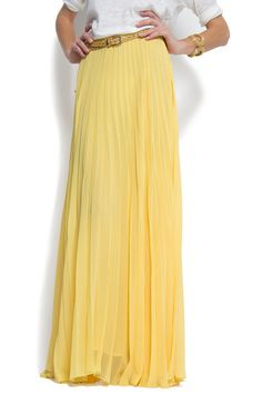 pleated yellow maxi skirt by MANGO-- in love. Yellow Pleated Skirt, Yellow Maxi Dress, Pleated Maxi, Chiffon Skirt, Dress Skirt, Maxis, Top Mode, Spring Summer Fashion, Maxi Skirts
