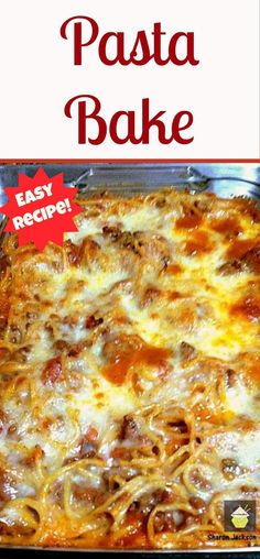 Pasta Bake - A quick and easy dinner full of tasty treats!  This recipe also does well for freezing in portions or if you use the aluminium foil trays. Simply defrost and reheat!