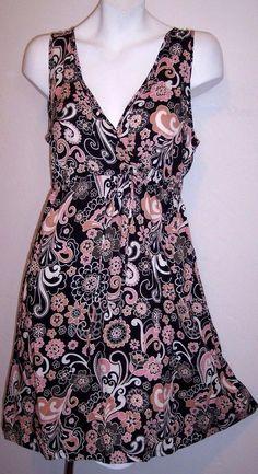Inked and Faded Dress M Boho Hippie Black Pink Floral Rayon Mini Sundress Medium #InkedFaded #BeachDressEmpireWaistSundress #Casual