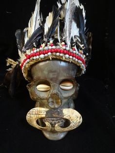Skull bronze Asmat ancestor skull Papua New Guinea by ubudexotica