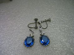 Vintage Silvertone Sapphire Blue & Clear by stampshopgirl on Etsy