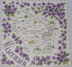 Wisconsin state map + purple wood violets [handkerchief / scarf]