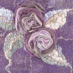 Купить Валяная сумка Хокку - фиолетовый, валяная сумка, женская сумка, валяная роза