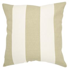Bring a pop of style to your sofa or favorite reading nook with this cotton and linen pillow, featuring bold sage-hued striping.   Produ...