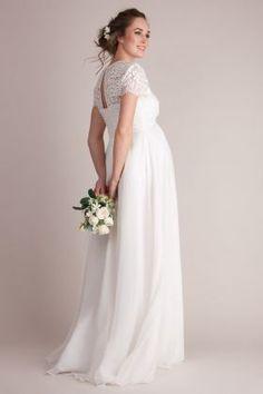 Bodenlanges Umstandsbrautkleid mit fließendem Chiffonrock, Schulter- und Rückenpartie aus Spitze und einem Keyhole-Ausschnitt hinten. Das Kleid hat...