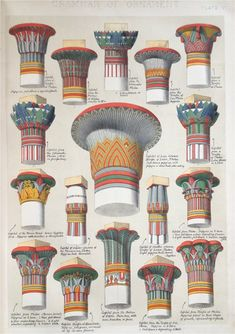 Artist's reconstruction of how many ancient columns would have appeared with vibrant color.