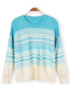 Casual Long Sleeve Pullover Ladies Hit Color Stripe Knitted Sweater - Gchoic.com