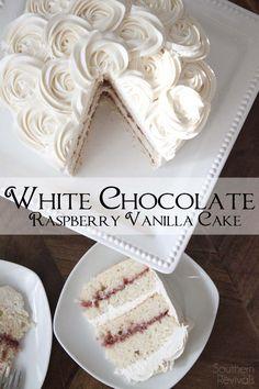 White Chocolate Raspberry Vanilla Cake {Gluten Free} // @peachstreet