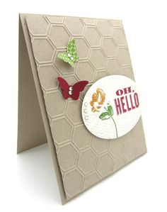 A card using new products from the Stampin' Up! Spring Catalog. Bitty Butterfly, Oh, Hello Stamp and the Honeycomb Textured Impressions folder.